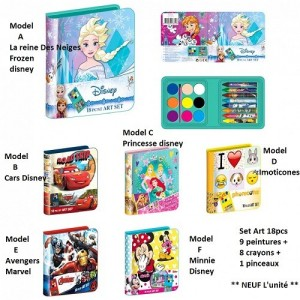Set Art 8 pieces - Coffret artistique * L'unit� / Model al�atoire * La reine des neiges/Princesse/Avengers/Cars/Imoticones ou Mi