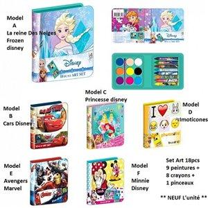 Set Art 8 pièces - Coffret artistique * L'unité / Model aléatoire * La reine des neiges/Princesse/Avengers/Cars/Imoticones ou Mi