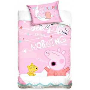PeppaPig Parure de lit Bébé 100% Coton - Housse de Couette 100x135 cm + Taie d'oreiller 40x60 cm