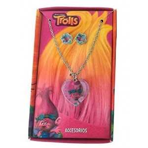 TROLLS - Coffret Beauté Cadeau Bijoux Fantaisie - Collier avec pendentif + Boucles d'oreilles - NEUF