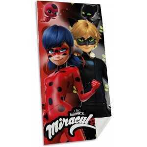 Serviette de Plage MIRACULOUS Ladybug & Chat Noir 70x140cm 100% Coton - NEUF