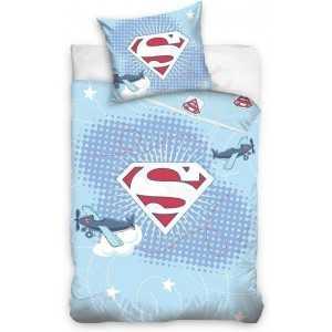 SUPERBABY Boy/garçon - Parure de Lit/Housse de Couette Réversible 100x135 cm et Taie d'oreiller 40x60 cm Bleu Clair 100% Coton -