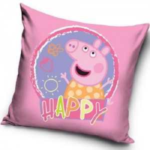 "PEPPA PIG ""Happy"" : Housse de Coussin / Taie d'oreiller 40x40cm -  NEUF"