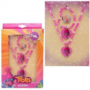 TROLLS coffret bijoux ( collier + bague + bracelet) Fantaisie rose - NEUF